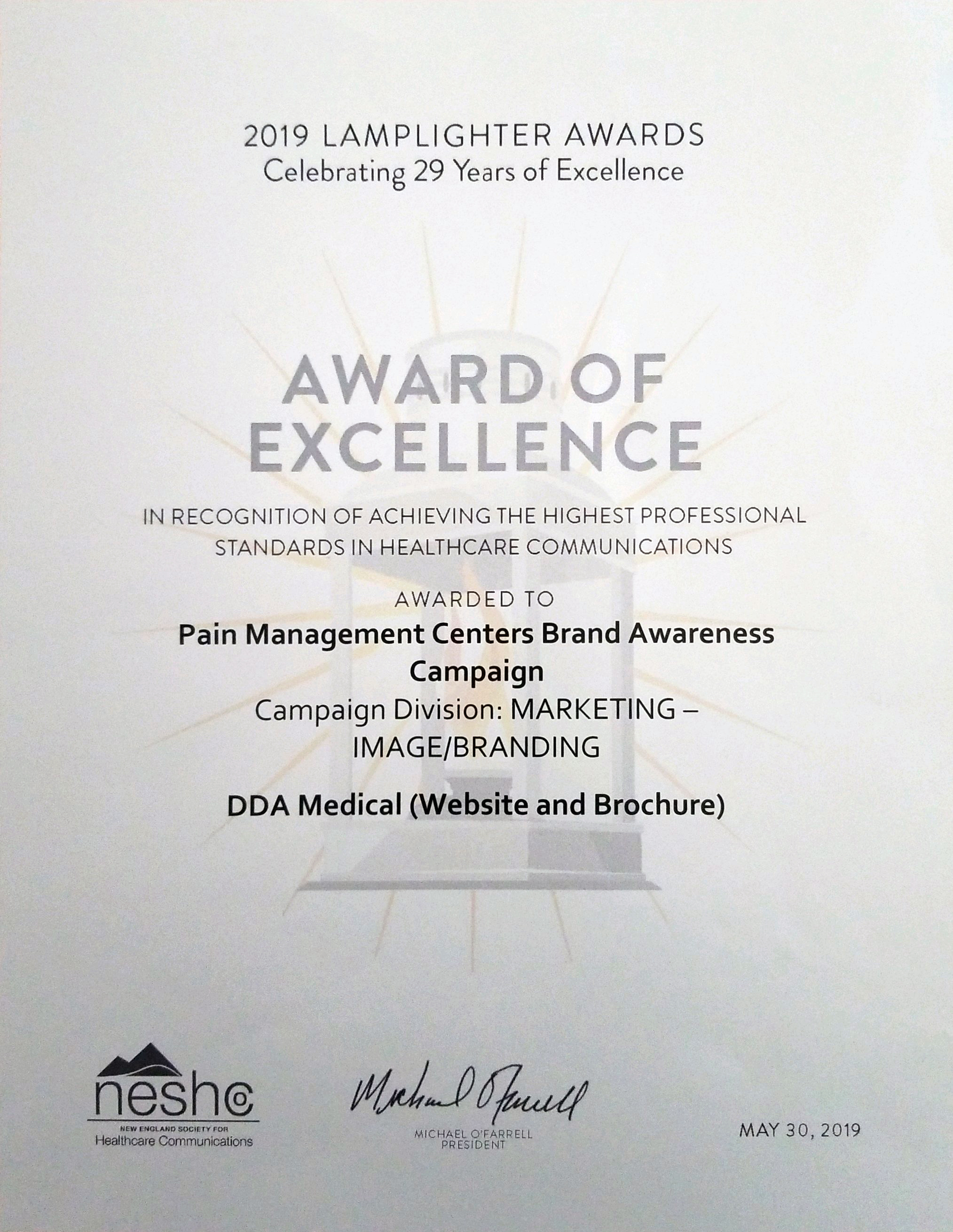 Pain Centers of New England Award